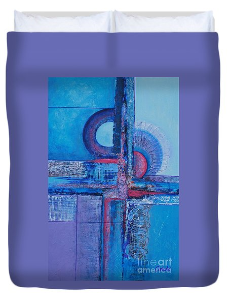 Blues With Purple Abstract Duvet Cover