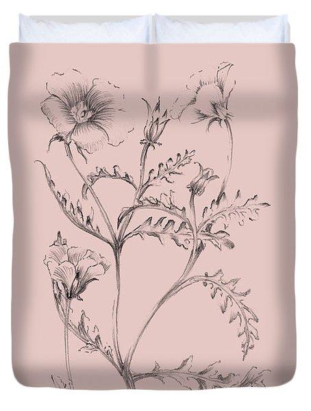 Blush Pink Flower Illustration I Duvet Cover