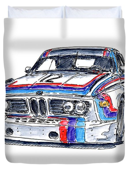 Bmw 3.0 Csl Classic Racecar Ink Drawing And Watercolor Duvet Cover