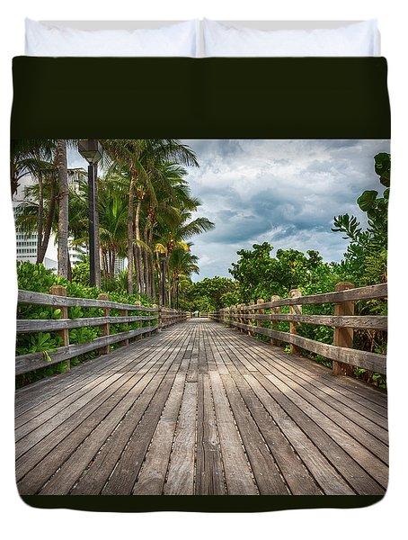 Boardwalk In Miami Beach Duvet Cover