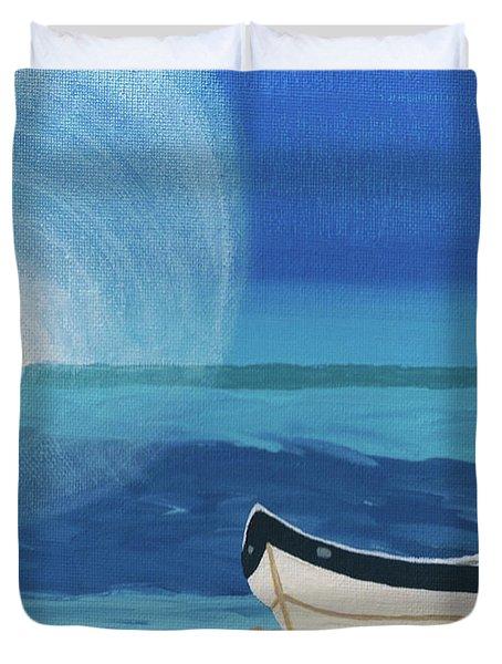 Boat On The Beach Duvet Cover
