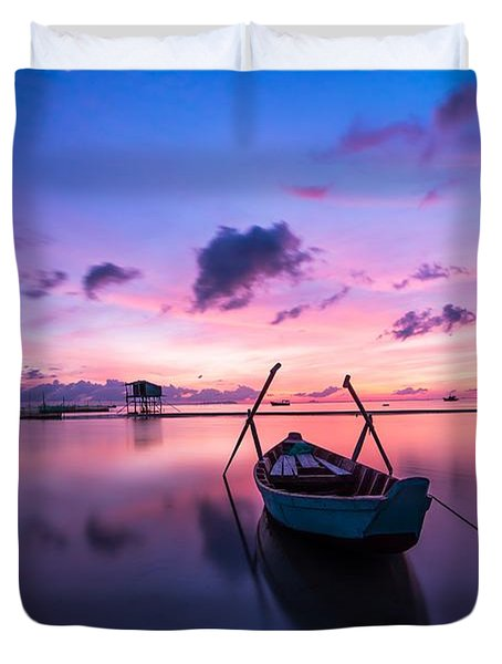 Boat Under The Sunset Duvet Cover