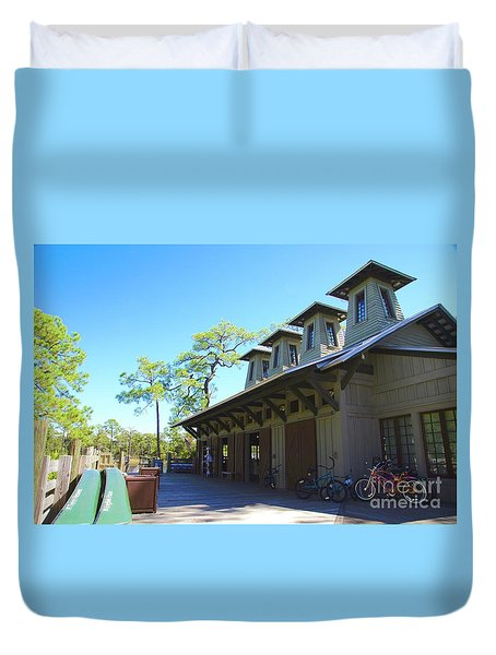 Boathouse In Watercolor Duvet Cover