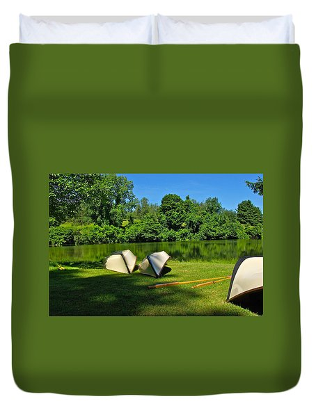 Boats By Lake Duvet Cover