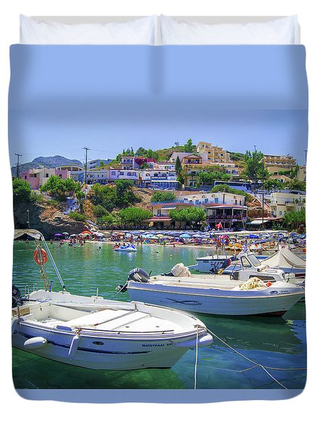 Boats In Bali Duvet Cover