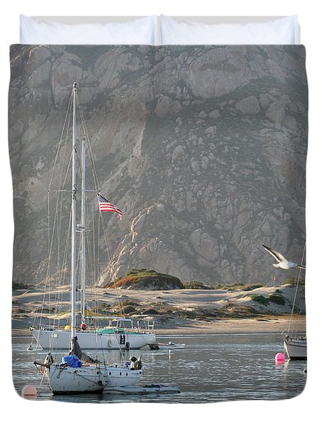 Boats In Morro Bay Duvet Cover