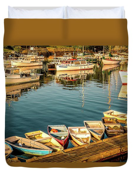 Boats In The Cove. Perkins Cove, Maine Duvet Cover