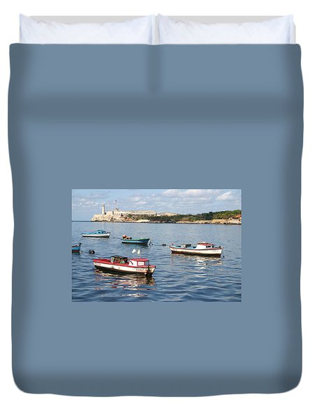 Boats In The Harbor Havana Cuba 112605 Duvet Cover