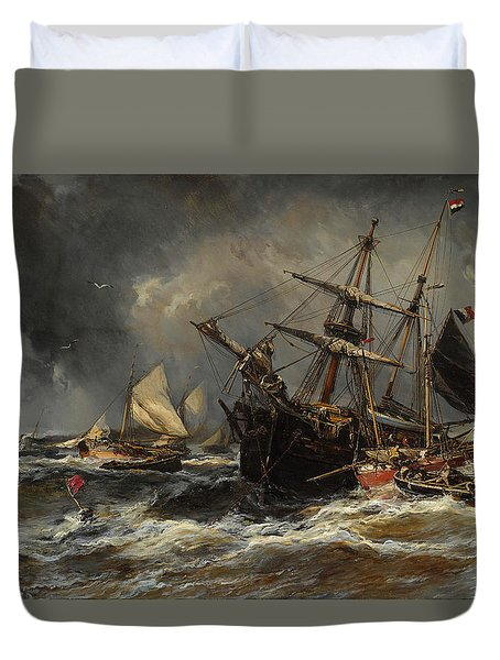 Boats In The Storm Duvet Cover