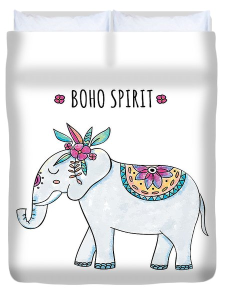Boho Spirit Elephant - Boho Chic Ethnic Nursery Art Poster Print Duvet Cover