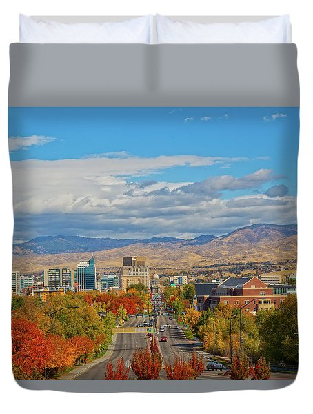 Duvet Cover featuring the photograph Boise In Fall by Dart and Suze Humeston