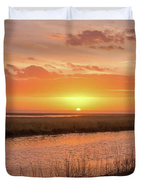 Duvet Cover featuring the photograph Bombay Hook Sunrise by Kristia Adams