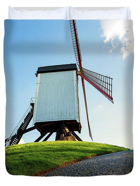 Bonne Chiere Windmill Bruges Belgium Duvet Cover