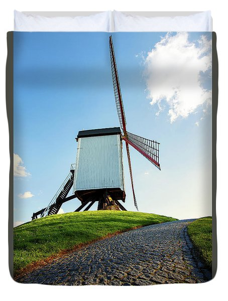 Duvet Cover featuring the photograph Bonne Chiere Windmill Bruges Belgium by Nathan Bush