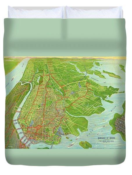 Borough Of Bronx, Birdview Map 1921 Duvet Cover
