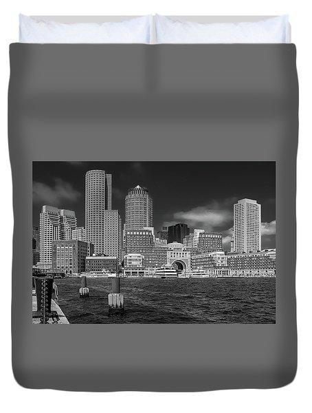 Boston Harbor Skyline Duvet Cover