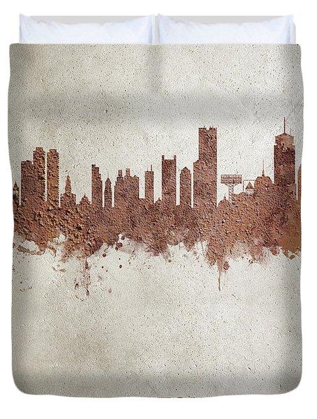 Boston Massachusetts Rust Skyline Duvet Cover