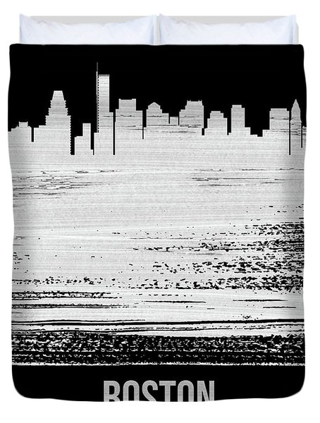 Boston Skyline Brush Stroke White Duvet Cover