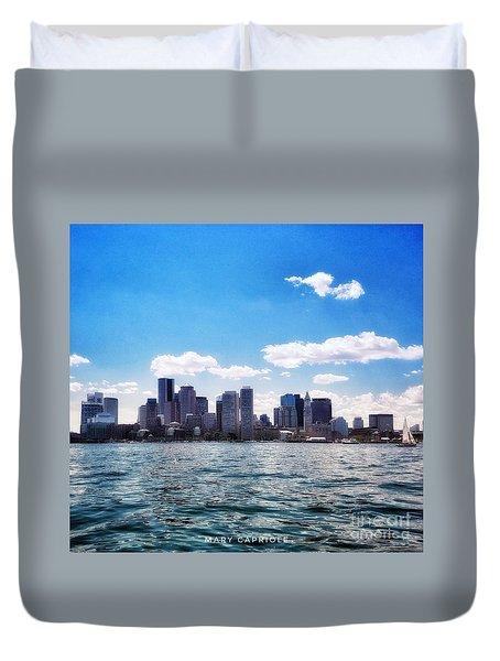Boston Skyline From Boston Harbor  Duvet Cover