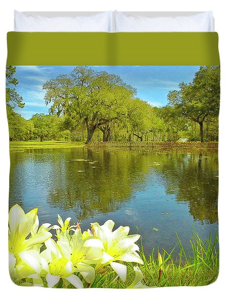 Botanical Gardens Pond Duvet Cover