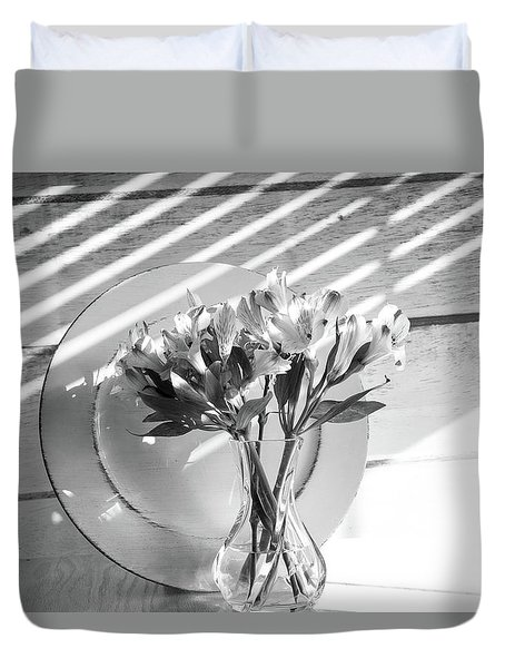 Bouquet And Plate-bw Duvet Cover