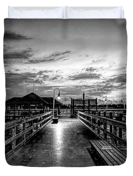 Bradenton Beach City Pier Duvet Cover