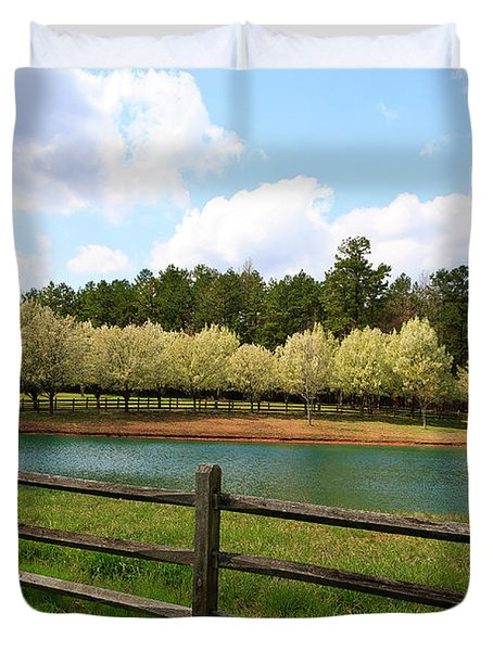 Bradford Pear Trees Blooming Duvet Cover