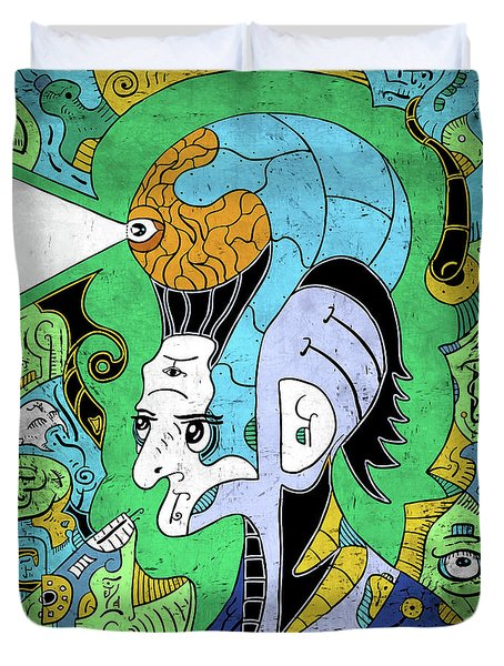 Duvet Cover featuring the digital art Brain-man by Sotuland Art