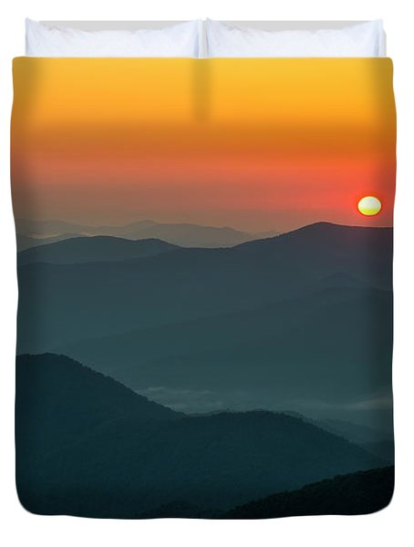 Duvet Cover featuring the photograph Brasstown Bald Sunrise by Andy Crawford