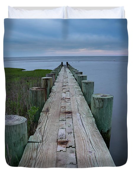 Breakwater At Harvey Beach In Old Saybrook Duvet Cover