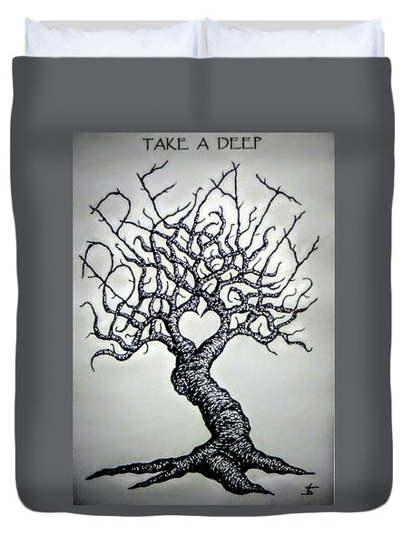 Duvet Cover featuring the drawing Breathe Love Tree - Blk/wht by Aaron Bombalicki