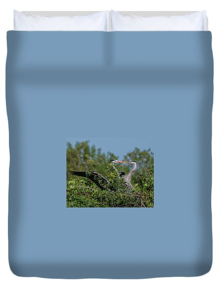 Breeding Herons Duvet Cover