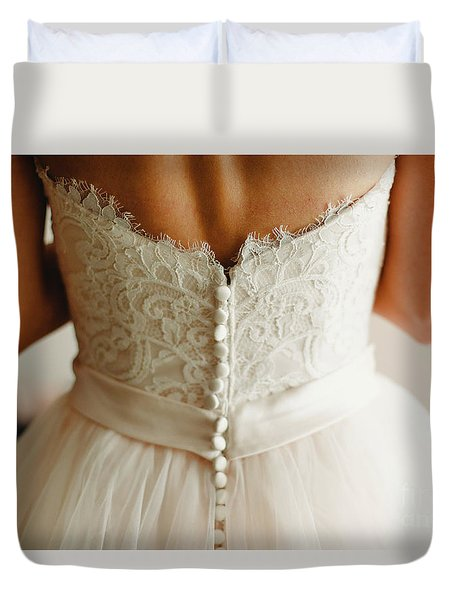 Bride Getting Ready, They Help Her By Buttoning The Buttons On The Back Of Her Dress. Duvet Cover