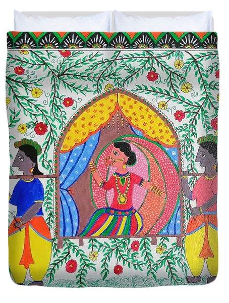 Bride On Palki Madhubani Painting Duvet Cover