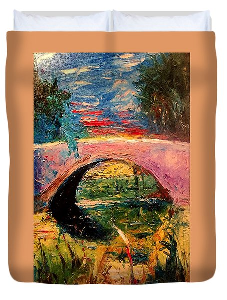 Duvet Cover featuring the painting Bridge At City Park by Amzie Adams