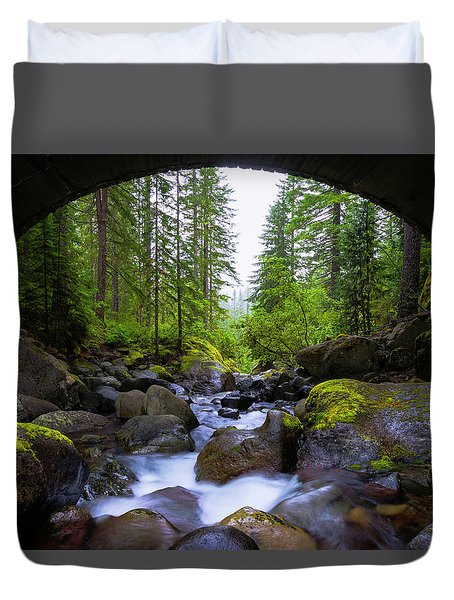 Bridge Below Rainier Duvet Cover