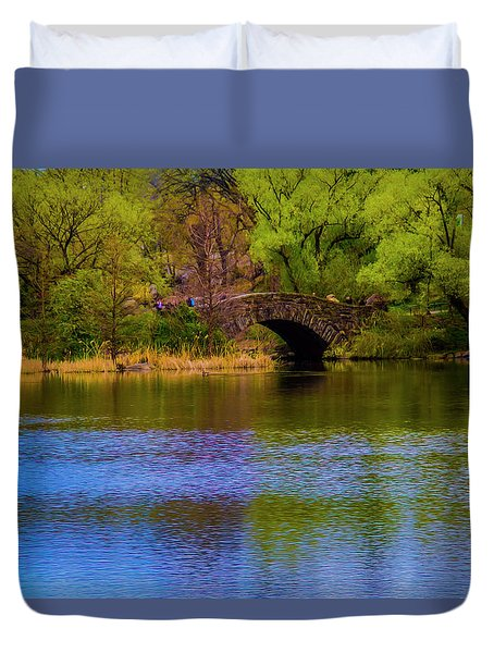 Bridge In Central Park Duvet Cover