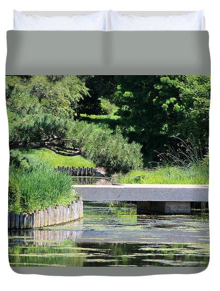 Bridge Over Pond In Japanese Garden Duvet Cover