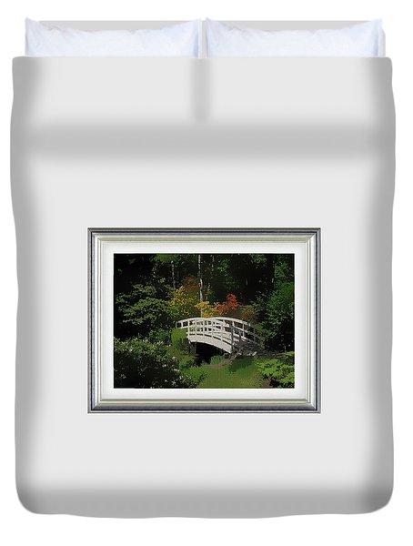 Bridge To The Azalea Gardens Duvet Cover