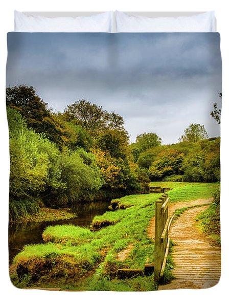 Bridge With Falling Colors Duvet Cover