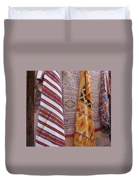 Bright Colored Patterns On Throw Rugs In The Medina Bazaar  Duvet Cover