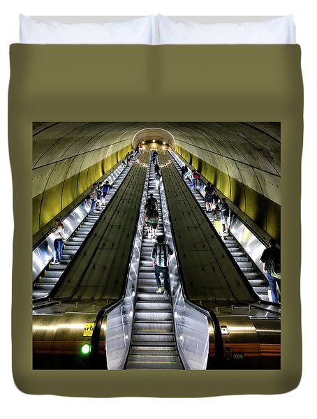 Bright Lights, Tall Escalators Duvet Cover