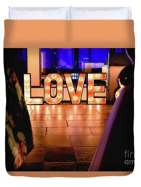 Bright Wooden Letters With Word Love In A Party Duvet Cover