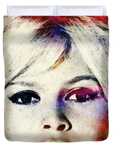 Brigitte Bardot Colorful Watercolor Duvet Cover