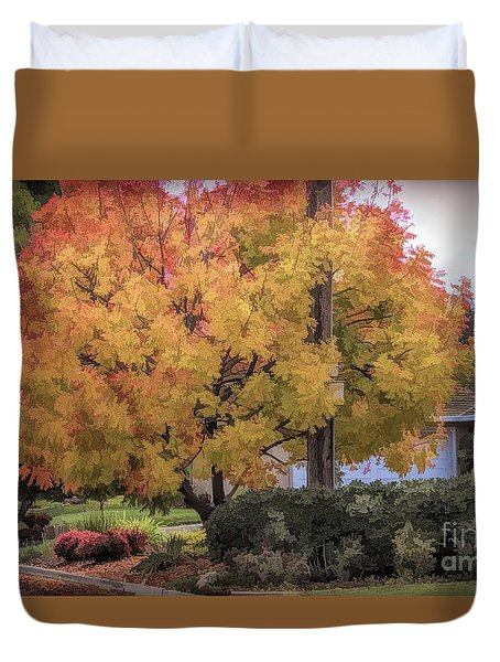 Brilliant Fall Color Tree Yellows Oranges Seasons  Duvet Cover