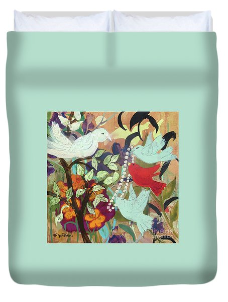 Duvet Cover featuring the painting Bringin' Momma Beads by Robin Maria Pedrero