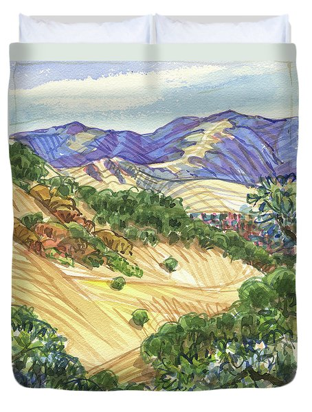 Duvet Cover featuring the painting Briones From Mount Diablo Foothills by Judith Kunzle