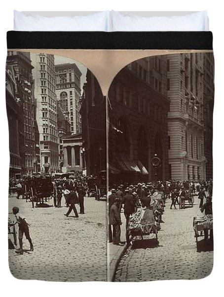 Broad Street, The Broker Section Of The City, Sub-treasury To The Right, New York City Duvet Cover