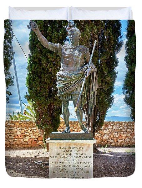 Duvet Cover featuring the photograph Bronze Copy Of Augustus Of Prima Porta Sculpture In Spain by Eduardo Jose Accorinti