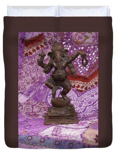 Bronze Ganesha Dancing, On Purple Duvet Cover